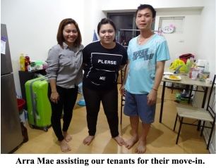 Arra Mae assisting our tenants for their move-in.